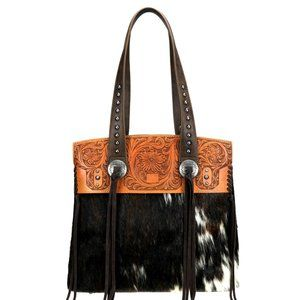 Trinity Ranch Montana West Hair on Leather Tote